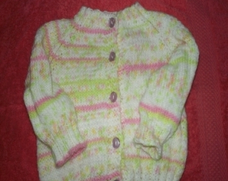 Pink and Lime Knitted Baby Sweater