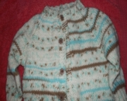 Brown and Blue Knitted Baby Sweater