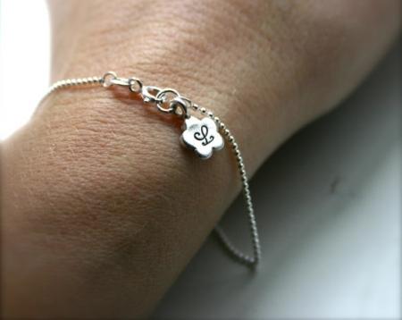 Personalized Bracelet  Flower Initial Bracelet