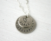 Personalized Necklace  Two Name Mothers Necklace with Heart