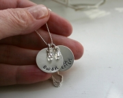 Mothers Necklace TWO Disc Personalized Charms