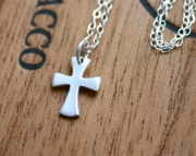 Sterling silver cross necklace - simple silver jewelry
