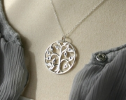 Personalized Family Tree Necklace  Stamped Initial Family Tree of Life