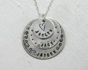 Mothers Necklace  Personalize Three Charms with Kids Names