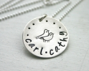 Sterling silver personalized necklace with two names and love birds handstamped jewelry