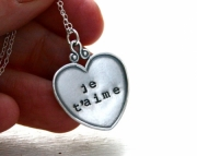 Je t'aime sterling silver large fancy heart necklace - Hand stamped