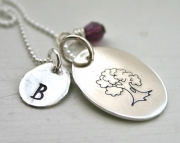 Family tree personalized initial charm necklace hand stamped jewelry
