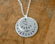 Personalized necklace - two name mothers necklace with heart