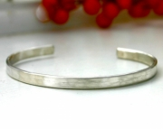 Sterling silver brushed cuff - sterling silver bracelet