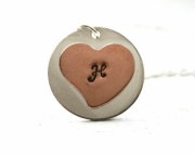 Initial Necklace - personalized necklace sterling silver pendant with copper heart