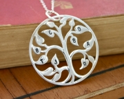 Family Tree Necklace Stamped with Intials