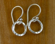 Tiny Sterling Silver Round Hammered Link earrings