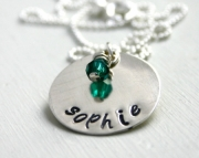 Name necklace with birthstone bead  Personalized necklace  hand stamped jewelry