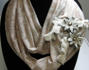 Tan Infinity Scarf with handmade flowers