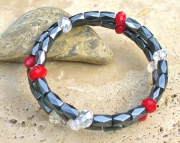 Magnetic Hematite and Crystal Bracelet