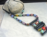 Chevron Bone Beaded Necklace