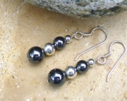 Beaded Hematite and Sterling Silver Earrings