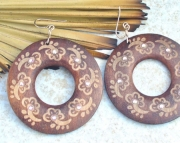 Painted Wooden Crystal Earrings