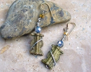 Brass African Trade Bead Earrings