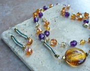 Purple n Gold Beaded Necklace Set