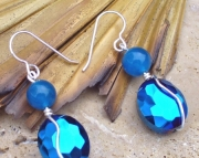 Deep Blue Faceted Crystal Earrings