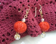 Carved Red Cinnabar Crystal Earrings