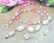 Rose Quartz Lariat Necklace Set