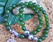Tree of Life Natural Emerald Stretch Charm Bracelet