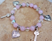 PINK ROSE QUARTZ STRETCH CHARM BRACELET