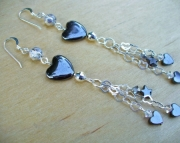 Hearts n Stars Hematite Earrings