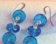 Blue Faceted Glass Disc Dangle Earrings
