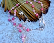 Pink Rose Quartz Jade and Crystal Rosary Necklace