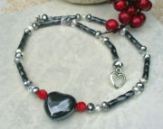 Magnetic hematite heart necklace