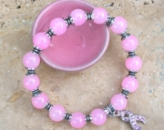 Breast Cancer Awareness Rose Quartz Stretch Bracelet