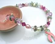 Breast cancer awareness crystal pearl bracelet
