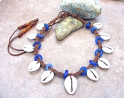 Old Cobalt Blue German Glass (rare) Cowrie Shell Necklace