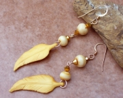 Bone Feather Dangle Earrings