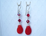 Vintage Red Fulani Wedding Bead Earrings