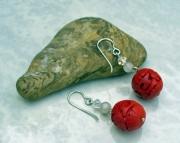 Carved Cinnabar Drop Earrings