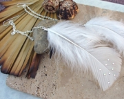 White Crystal Feather Earrings