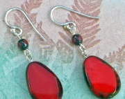 Red Polished Marble Earrings