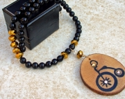 Wooden Bicycle Pendant and Gemstone Necklace
