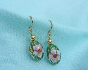 Cloisonne Floral Earrings