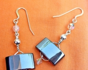 Hematite Rectangle Dangle Earrings