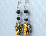 Black African Trade Bead Earrings