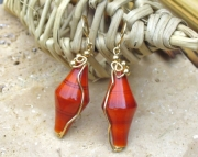 Orange Painted Wooden Earrings