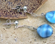 Sterling and Blue Glass Earrings