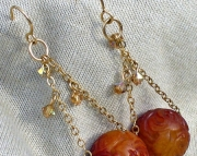 Chinese Carved Carnelian Drop Earrings