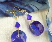 Blue Faceted Glass Dangle Earrings