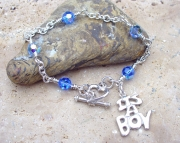 It's A Boy Sterling Silver Charm Bracelet